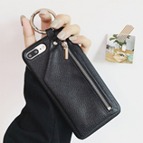 Bonvan Black Leather Luxury Zipper Handbag Wallet iPhone Case